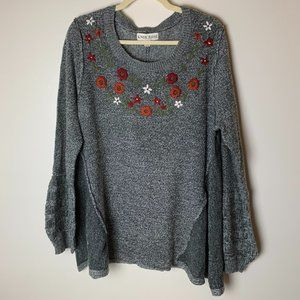 Knox Rose Sweater Size XXL Floral Embroidery